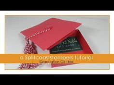 Graduation Gift Box Tutorial - Splitcoaststampers-by Dina Kowal---Celebrate the graduate with this shaped gift box.