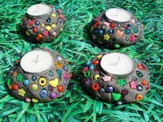 For the kids to make and give: Mosaic Style Candle Holders