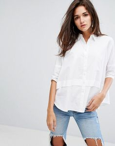 Daisy Street Shirt In Oversized Fit - White