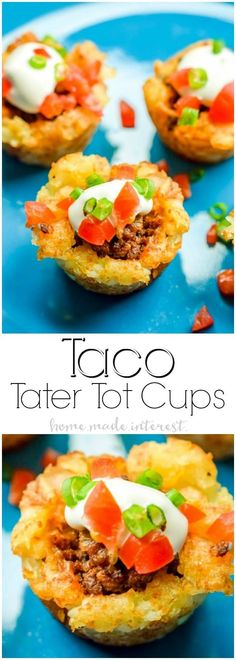 Taco Tater Tot Bites | These Taco Tater Tot Bites are an easy appetizer recipe that are an awesome football food idea for your next game day party or tailgating! If you love tater tots and you love tacos these Taco Tots are the best of both worlds! Taco Tater Tot Bites make the ultimate Super Bowl party food or Cinco de Mayo recipe!