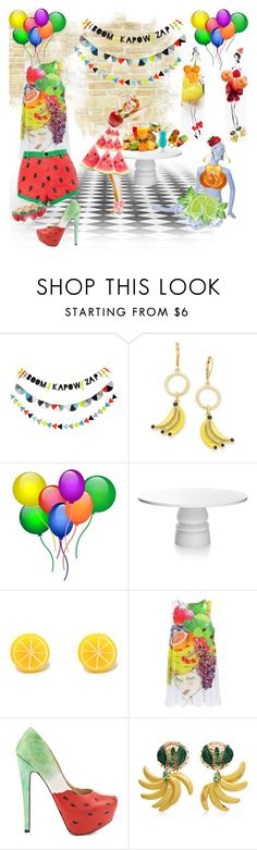 """What would YOU wear to a fruit print party!!!"" by amara-m-hafeez ❤ liked on Polyvore featuring Kate Spade, Moooi, TaylorSays and Dolce&Gabbana"