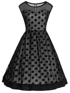 Polka Dot Sleeveless Plus Size Vintage Dress - BLACK 5XL