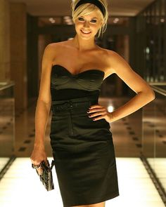Lena Gercke in cocktail dress with cute purse #purse #shefanci #adorable #pure #nice #cocktail #dress
