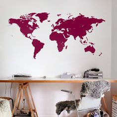 World map with Country names decal map country office