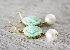 Pale blue flower & pearl earrings by urbanelementsco on Etsy