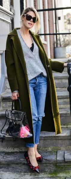 Army Green Bouclé Long Line Coat || yes! I am dying to find a coat in this colour.