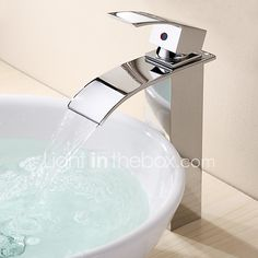 Contemporary Modern Vessel Waterfall with  Ceramic Valve One Hole Single Handle One Hole for  Chrome , Bathroom Sink Faucet - USD $38.39 ! HOT Product! A hot product at an incredible low price is now on sale! Come check it out along with other items like this. Get great discounts, earn Rewards and much more each time you shop with us!