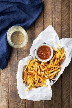 Baked French Fries with Curried Ketchup | http://naturallyella.com