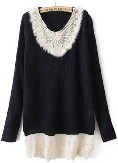 Black Long Sleeve Contrast Lace Pullovers Sweater