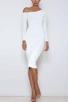 White Sexy One Shoulder Pleated Midi Bodycon Dress - US$15.95 -YOINS