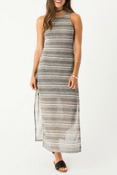 Grey maxi dress with a black mini dress attached underneath.  Catalina Maxi Dress by Others Follow . Clothing - Dresses - Maxi Indiana