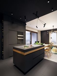 This Contemporary Apartment Pops With Turquoise Accents This fresh modern home is the work of the interior design superstars at Polish creative agency PLASTERLINA. The project, titled U. Home, is an exciting conc Kitchen Cabinet Design, Modern Kitchen Apartment, Contemporary Kitchen Cabinets, Contemporary Kitchen, Contemporary Apartment, Modern Kitchen Design, Apartment Kitchen, Kitchen Decor Apartment, Modern Apartment