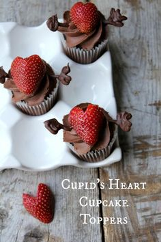 Cupcake Recipes : Cupid's Heart Cupcake Toppers