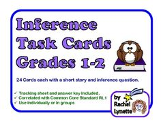 Inference Task Cards: 24 Short Story Cards for Grades 1-2. $