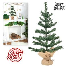 cdba970976477 Small Christmas Tree Artificial Rustic Decorations Stand Tabletop Green 24  Inch  General Small Christmas Trees