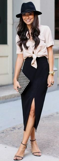Pink blouse + Pencil Skirt #pink women fashion outfit clothing style apparel @roressclothes closet ideas