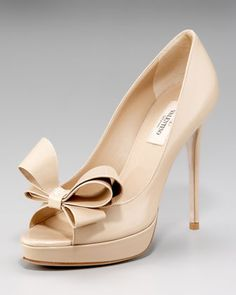 What can I say? I like a good bow. Couture-Bow Platform Pump by Valentino at Neiman Marcus.