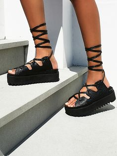30bf0a420666 Tully Lace Up Sandal-- Pebbled leather flatform sandals with long leather  lace-up straps.  By Intentionally Blank  Leather  Import Measurements   Platform  2 ...
