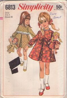 MOMSPatterns Vintage Sewing Patterns - Simplicity 6813 Vintage 60's Sewing Pattern ADORABLE Toddler Girls Mod Inverted Pleat Flared Lace Trim Party Dress, Matching Rag Doll with Dress, Yarn Hair