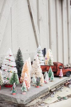 trucks and trees. perfect holiday decor.