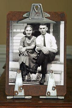 old clipboard, pair of hinges = vintage frame