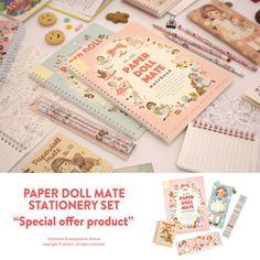 Afrocat Paper Doll Mate Stationery Set Spring Notebook Paper Memo Pencils Case #Afrocat