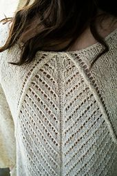 To careen is to tilt or turn on its side, just like the direction and movement of lace in this stunning top-down sweater.