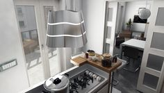 Small kitchens which require a good island hood and a lamp can find in Wave both elements and a great decorative boost.