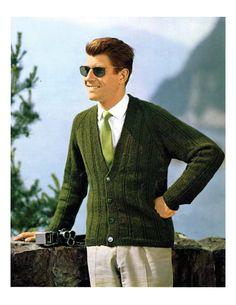 Men s Retro 60s Classic Cardigan Knitting Pattern by YarnSkippy Vintage  Knitting c70d2e057