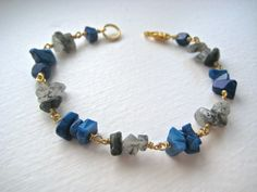 Gold delicate bracelet  Lapis and Rutilated Quartz by himeneonx, $32.50