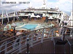 Uma visão externa pela Webcam do navio.
