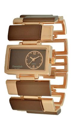 Interesting Rose Gold Plated & Brown Watch.