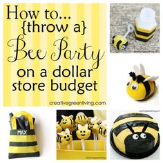Perfect for a birthday party or baby shower - most of the supplies came from the dollar store! Throw a fabulous bee party on a budget! Post includes 16 great party ideas that you can make yourself or buy from the dollar store. Bumble Bee Birthday, Baby Birthday, Birthday Party Themes, Birthday Ideas, Mommy To Bee, Bee Theme, Partys, Shower Party, Shower Favors