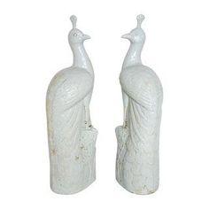 Blanc De Chine Ceramic Peacocks - A Pair