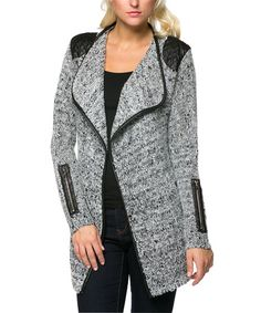 Another great find on #zulily! Gray & Black Zip-Accent Knit Open Jacket by High Secret #zulilyfinds