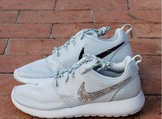 50% off Sneakers Silver Bling Nike Roshe swarovski All Whtie