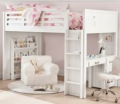 40+ Girl's Bedroom Ideas With An Awesome Play Space Playhouse Loft Bed, Birch Floors, Girls Bedroom, Bedroom Ideas, Bedroom Designs, Reading Nook Closet, Extra Bed, Metal Drawers, Full Bed