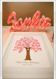 Sign in table, light by Lollipop Lights and tree guest book.