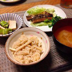 献立: たけのこご飯、鰯の蒲焼き味、そら豆と厚揚げの煮物、玉ねぎのお味噌汁 - 13件のもぐもぐ - たけのこご飯 など by Sakiko