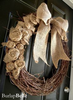 Natural Burlap on Grapevine Wreath.