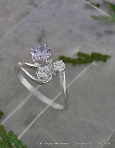 Lavender w/ White Cubic Zirconia Stones 925 by CedarCreekCanada