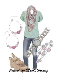 feat. Premier Designs jewelry #pdstyle jeans, wedges, mint tee, floral scarf Premier Designs Jewelry