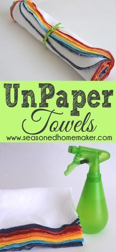 Never buy paper towels again! Instead use these Reusable Paperless UnPaper Towels for small spills and cleanups then toss in with your next load of laundry. www.seasonedhomemaker.com