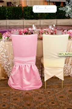 #pink and #champagne #prince and #princess #chair #covers