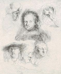 Etching of faces by Rembrandt