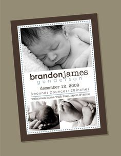 Frame Birth Announcement by winksanddaisies on Etsy, $15.00- PRINTING AVAILABLE