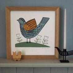 Teal and Orange Bird Screen Print £30.00
