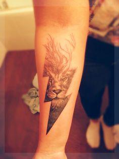My life. My everything. #tattoo #lion #lightning #life