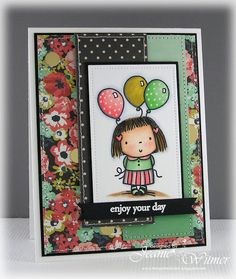 The Spotted Chick: Enjoy your day!, Penny Black, Betsy Bluebell, Handmade Card