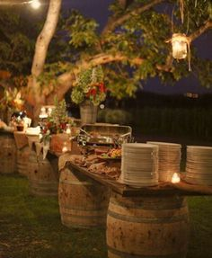 Rustic wine barrels with soft lighting for your entire buffet.your perfect wine country wedding buffet Fall Wedding, Our Wedding, Dream Wedding, Trendy Wedding, Wedding Rustic, Buffet Wedding, Chic Wedding, Wedding Country, Wedding White